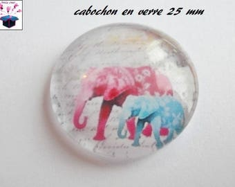 1 cabochon clear 25 mm elephant theme