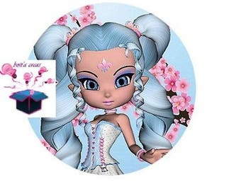 1 cabochon clear 25 mm blue hair girl theme