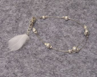 Wedding white and silver feather bracelet