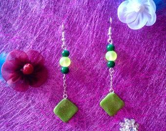Green Green fimo earrings
