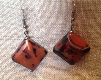 Earrings ethnic Brown and black agate