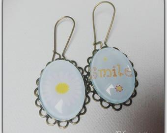 Earrings cabochon glass 18 * 25 mm, spring, Sun, sunny days, flower, smile