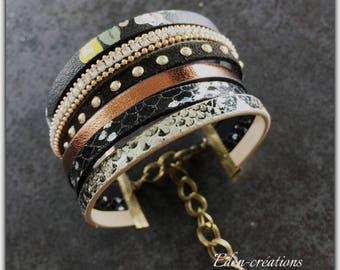 Khaki leather Cuff Bracelet, MULTISTRAND.