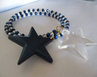 Womens blue and transparent beads and pendants harmonic two turns star