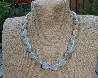 Beige, natural, fossilized coral stone necklace