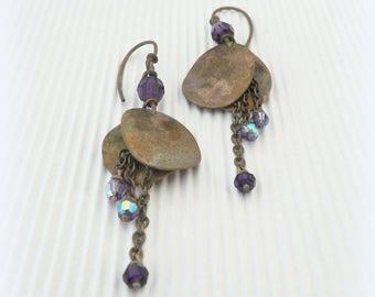 """""""Petals"""" - Purple Swarovski pearls earrings - brass"""