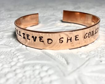 Inspirational Bracelet, Mantra Cuff, She Believed She Could So She Did, Feminist Design, Handstamped Jewelry, Yoga Jewelry