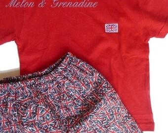 "Summer Pajamas boy fancy ""Union Jack"" - series LONDON - 2 years"