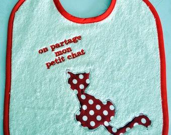 Share my kitten name embroidered baby bib