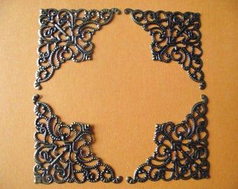 set of 10 corners, angles, filigree embellishments. Antique bronze color