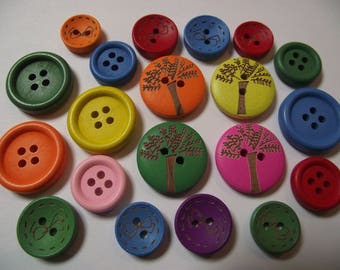 Mix / set of 20 wooden buttons, multicolored, round (Ref 26 n)