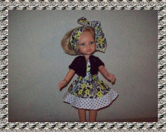 clothes for dolls 32/33 cm (dress, vest, headband) printed floral black and white