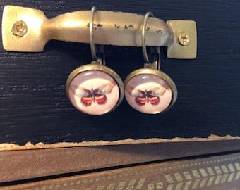 Vintage Butterfly cabochon earrings