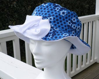 Designer blue and white flower child Sun Hat