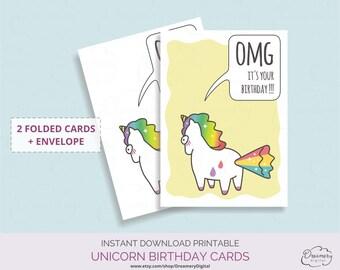 Humorous birthday card unicorn, Belated birthday greeting cards download