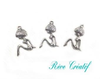 10 pcs Alloy Pendants, Woman, Antique Silver, 23x15x3mm