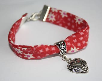 Bracelet Liberty pattern red heart white