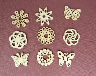 Wooden subjects embellishment: Roses and butterflies