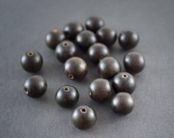 2 pcs - round beads black ebony wood ethnic • nature • 12mm