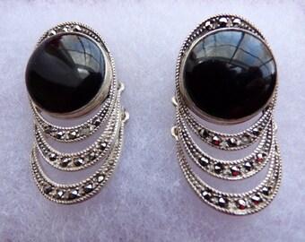 Vintage Sterling Silver Black Onyx & Marcasite earrings JR maker mark Pierced