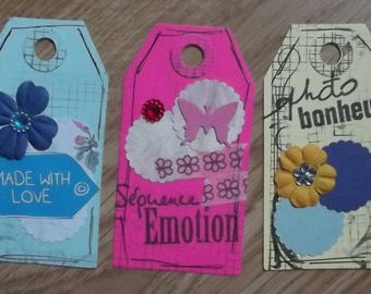3 tags, 1 blue, fuchsia 1 and 1 yellow for your scrapbooking creations.
