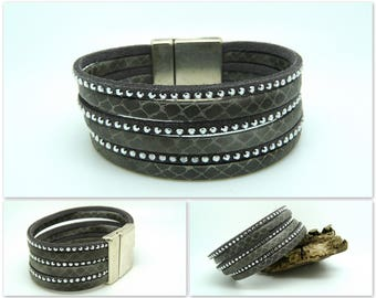 Gray and silver leather Cuff Bracelet