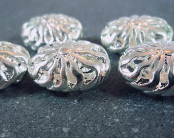 5 beads filigree silver-plated 12x17mm (pm106)