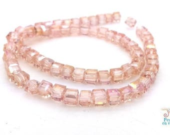 Pink: 20 cubic faceted glass AB, 4X4mm (pv642)