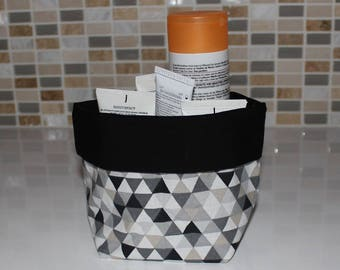 Bath - washable and reversible basket - triangle - black, grey, white and beige pattern