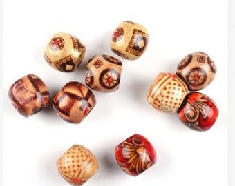 100 round DIY Brown wooden beads dark 10mm