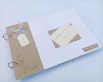 Linen and arabesque Wedding guest book