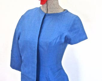 S 50s 60s 2pc Suit Dress Set Jacket Blue Wiggle Sheath Cocktail Bombshell Mid Century Arpegio Beverly Hills Small