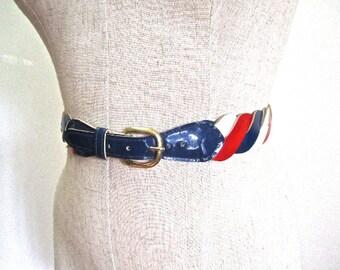 M Belt 60s Red White Blue Wist Faux Patent Leather Mod Unique Adjustable Medium