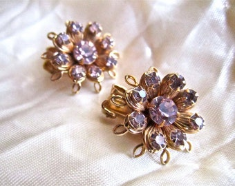 50s 60s  Lavender Rhinestone & Gold Tone Leaves Clip Back Earrings Vintage Sexy Marilyn Purple