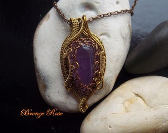 Handmade OOAK wire wrapped amethyst necklace