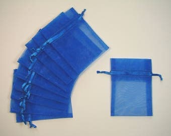 Blue set of 10 organza bags, 7cmX10cm