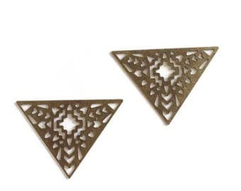 Set of 2 large triangles ethnic Openwork, 42mm, bronze - HD - N3