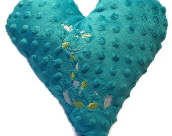 Pillow stuffed heart with embroidered giraffe for baby, child or room decoration