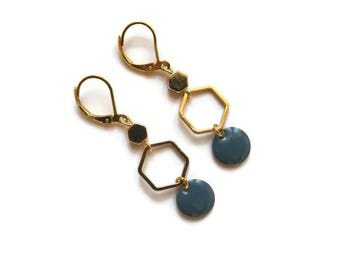 Hexagon Stud Earrings gold and blue enameled sequin