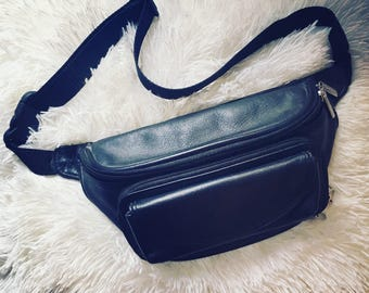100% leather fanny pack
