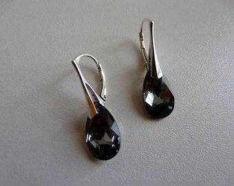 BOUCLES D OREILLES grise aux multi reflets -  Larme en crystal Swarovski silver night- Argent 925