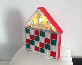 Wooden advent calendar. Bright home - Christmas