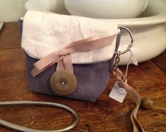 Keychain in antique grey and beige cotton