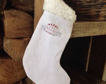 Sock Ecru fur and canvas old white sheet
