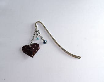 Swarovski heart origami bookmark