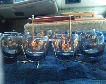 8 Gold Coin Roly Poly Glasses, Vintage