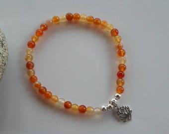 Carnelian, silver 4 mm beads and lotus flower charm bracelet