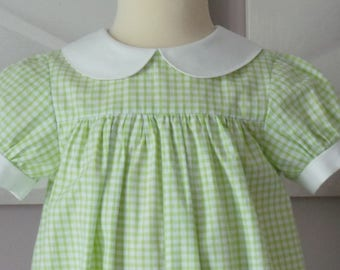 lime green gingham cotton 18 month romper