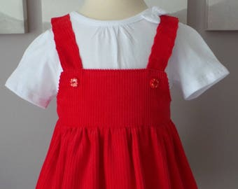 dress 12 months with straps in red corduroy
