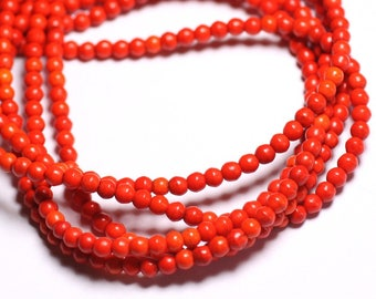 40pc - synthetic Turquoise beads 4mm Orange 4558550022554 balls